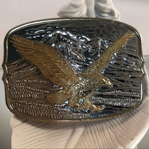 Vintage silver & gold eagle buckle